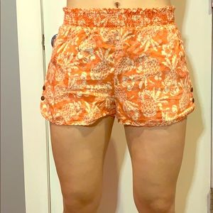 Anthropologie Orange Pinapple Print Linen Shorts